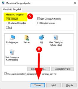 Windows 10 masaüstüne bilgisayarım simgesi ekleme